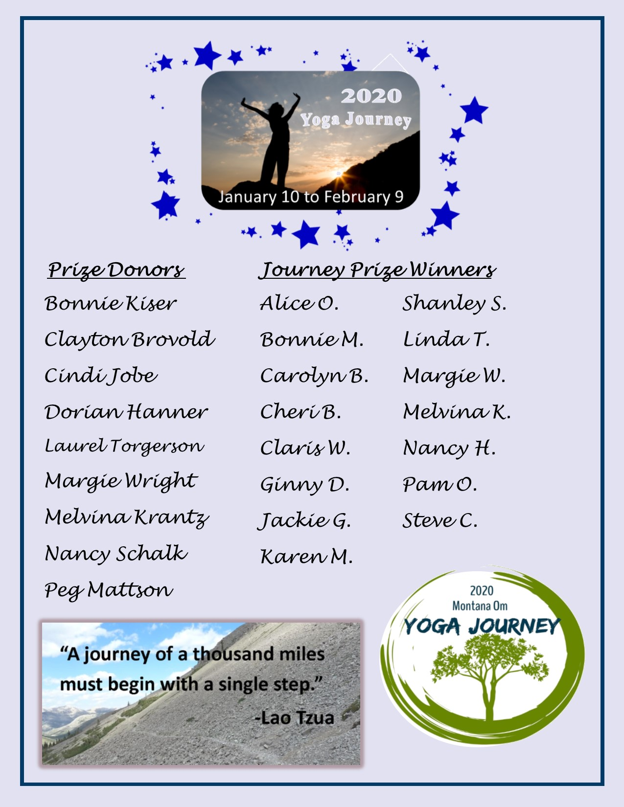 Yoga Journey 2020 Donors/Winners